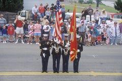 Marine in 4 de Parade van Juli, Cayucos, Californië Stock Fotografie