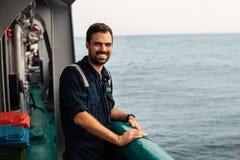 Marine Deck Officer of eerste stuurman op dek van schip of schip stock fotografie