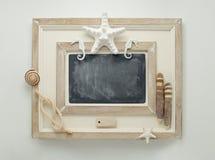 Marine decorated chalkboard. Stock Photo