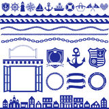 Marine decoration. Set of marine decoration. stripe and border Stock Image
