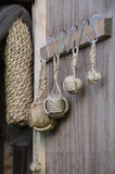 Marine decoration. Hanging knots on the door stock photography