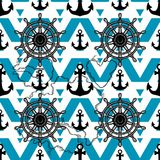 Marine design background. Anchor and Wheel Vector seamless pattern isolated. Male nautical texture decor. Male nautical texture decor. Marine design background Vector Illustration