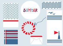 Marine design background set for summer Stock Photography