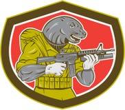 Marine-Dichtung mit Armalite-Gewehr-Schild Lizenzfreies Stockfoto
