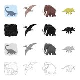 Marine dinosaur, pterodactyl, prehistoric mammoth, triceraptor. Dinosaurs and prehistoric set collection icons in. Cartoon black monochrome outline style vector Royalty Free Stock Image