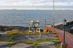 Marine dock and the islands on horizon Stock Photography