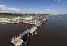 Marine dock for ship or barge loading Royalty Free Stock Photos