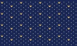 Marine donkerblauw naadloos patroon in retro stijl met een gouden kroon stock illustratie