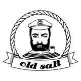 Marine Doodle label. Seaman. Isolated.  Stock Image