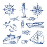 Marine doodles set with ships, boats and nautical anchors. Vector illustrations in hand drawn style stock illustration