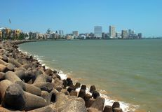 Marine Drive en Nariman Point Sweep Panorama van Mumbai Stock Foto
