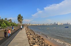 Marine Drive-kustcityscape Mumbai India stock foto