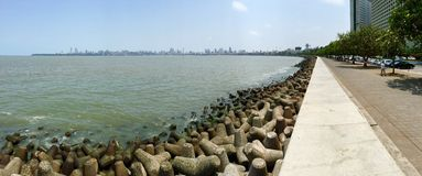 Marine Drive Promenade en Bombay del sur, la India Fotografía de archivo libre de regalías