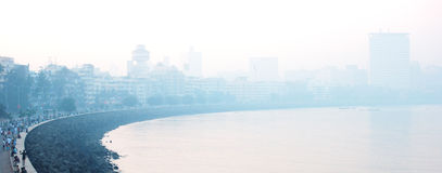 Marine Drive (South Mumbai) stretch in early morning mist Stock Photo