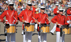 Marine Drums. Members of the United States Marine Corps Marching Band drum in perfect unison. Image taken during a ceremony at MCRD, San Diego on March 8th, 2008 Stock Photography
