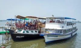 Boats resting on lake at Marine drive kochin royalty free stock photography