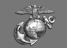 Marine Eagle, globe et ancre Photos libres de droits