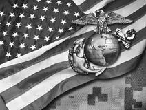 Marine Eagle, globo e âncora imagem de stock