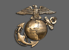 Marine Eagle, globo e ancora Fotografia Stock
