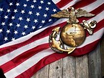 Marine Eagle, Kugel und Anker stockfotos