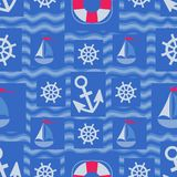 Marine elements design on blue waves. Seamless pattern. Design for textiles, packaging, marine equipment for packaging materials Royalty Free Stock Photo