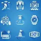 Marine elements white icons Royalty Free Stock Photos