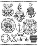 Marine emblem with anchors Royalty Free Stock Photos