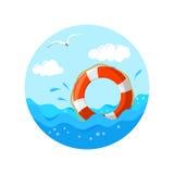 Marine emblem with lifebuoy Royalty Free Stock Photos