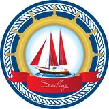 Marine emblem with a sailboat stock illustration