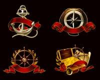 Marine Emblem set on black vector illustration
