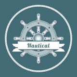 Marine emblem. With steering wheel performed on a blue background Stock Images