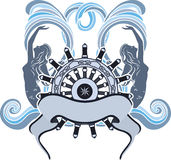 Marine emblem, wheel and mermaid Royalty Free Stock Image