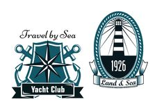 Marine emblems with lighthouse and compass Royalty Free Stock Photography