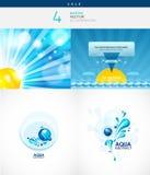 Marine en aquaillustratiesinzameling Stock Afbeelding