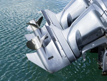 Marine engine. Two marine engines in a boat Royalty Free Stock Photo