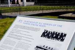 Marine Engine Room Memorial sign, Liverpool. Royalty Free Stock Photography
