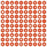 100 marine environment icons hexagon orange. 100 marine environment icons set in orange hexagon isolated vector illustration royalty free illustration