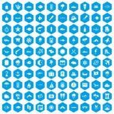 100 marine environment icons set blue. 100 marine environment icons set in blue hexagon isolated vector illustration Royalty Free Stock Photo