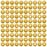 100 marine environment icons set gold. 100 marine environment icons set in gold circle isolated on white vector illustration Stock Photography