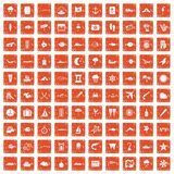 100 marine environment icons set grunge orange. 100 marine environment icons set in grunge style orange color isolated on white background vector illustration Stock Images