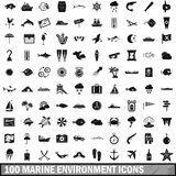 100 marine environment icons set, simple style. 100 marine environment icons set in simple style for any design vector illustration Stock Image