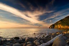 Marine evening. Evening light sunset on the beach Royalty Free Stock Photo