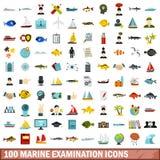 100 marine examination icons set, flat style. 100 marine examination icons set in flat style for any design vector illustration vector illustration