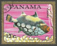 Marine Fauna, Clown Triggerfish. Panama - stamp 1968, Memorable Multicolor Edition, Marine Fauna, Series Fish, Clown Triggerfish, Balistoides conspicillum Stock Photos