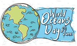 Marine Fauna and World in Doodle Style for Oceans Day, Vector Illustration. Banner for World Oceans Day with beautiful view of the marine fauna over the Earth` Royalty Free Stock Photo