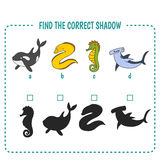 Marine fish. Find the right shadow image. Educational games for kids. Sea life Royalty Free Stock Photo