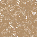 Marine fish on kraft paper seamless pattern. For restaurant menus, cards, books, wrapping paper Royalty Free Stock Photography
