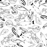 Marine fish on a white background seamless pattern. For restaurant menus, cards, books, wrapping paper Stock Image