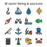 marine and fishing icons set Royalty Free Stock Image