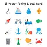 marine and fishing icons set Stock Photo